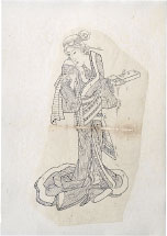 Teisai Sencho Preparatory Drawing for print of <i>'Shadow Pictures of the Floating World: Courtesan at her Toilette'</i>