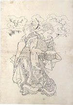 Utagawa Kuniyoshi Preparatory Drawing related to right sheet of triptych <i>'Modern Choices'</i>