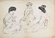 unknown three sketches of seated beauties