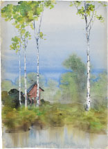 Kakunen Tsuruoka Misty Landscape with Birch Trees and Raised Red Hu…