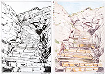 Paul Binnie Color Separation and Ink Drawing Process Set for The Steps at Black's Beach