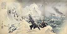 Mizuno Toshikata Picture of Seven Brave Men of the Navy Suicide Landing Mission Make an Advance Approach Near Weihaiwei