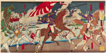 Tsukioka Yoshitoshi Officer Nozu Retrieves the National Flag During a Battle at the Mouth of the Takase River